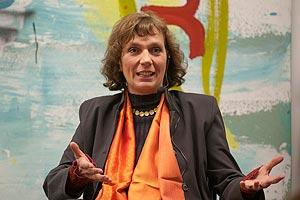 Frau Lange auf dem Podium